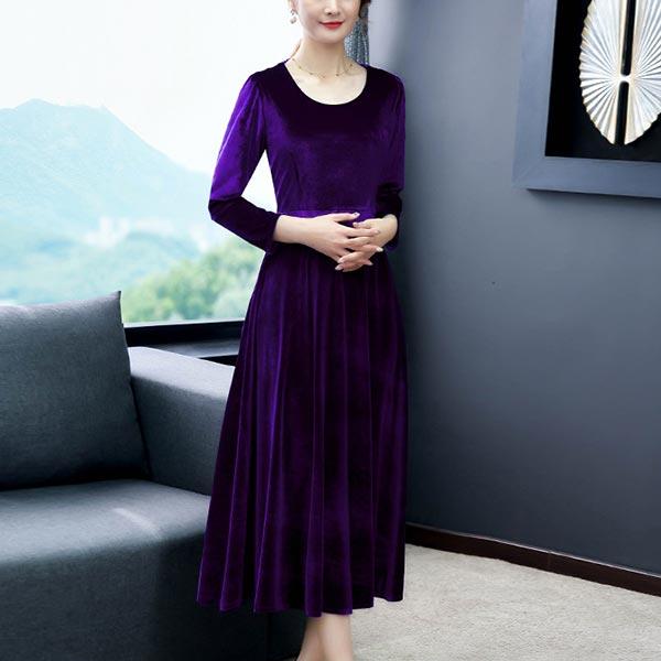 Long-sleeved O-neck High Waist Slim Women Dress - Purple
