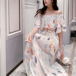 Colorful Leaves Print Off Shoulder Chiffon Long Dress
