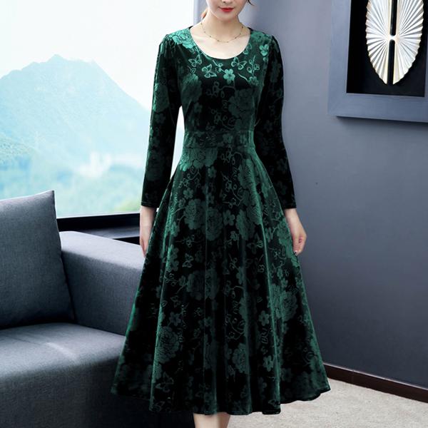 Flowers Texture O Neckline Casual Dress - Green