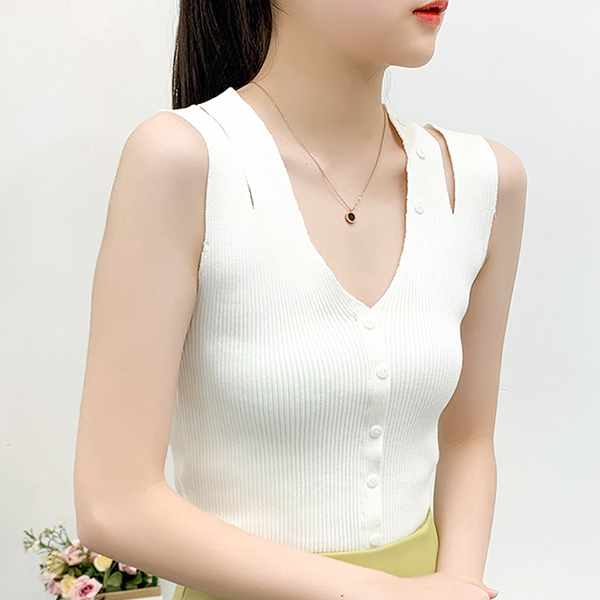 Deep V Neck Button Decorative Formal Top - White
