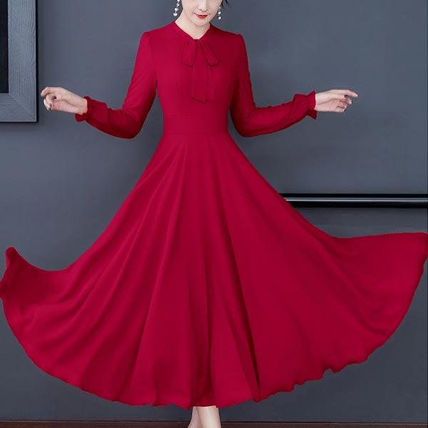 Long-sleeved Chiffon Solid Slim Swing Women Dress - Red