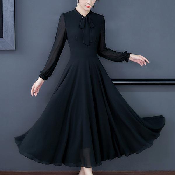 Long-sleeved Chiffon Solid Slim Swing Women Dress - Black