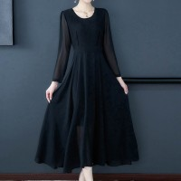Pleated Round Neck A-Line Long Dress - Black