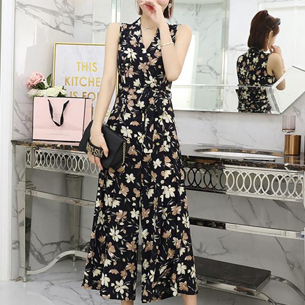 Floral V Neck Full Length Romper Dress