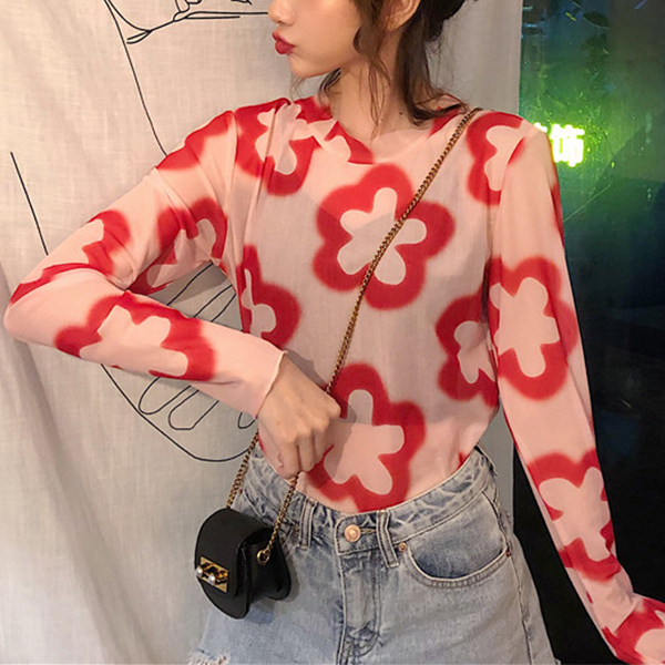 Round Neck Printed Thin Fabric Blouse Top - Red