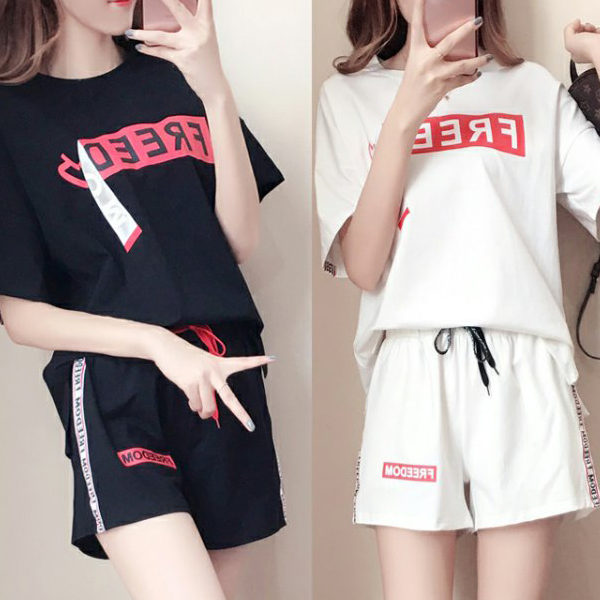 Text Printed Loose Wear T-Shirt With Short Pants - White