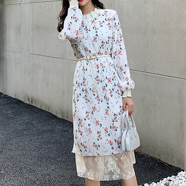 Lace Turtle Neck Floral Midi Length Summer Dress - White