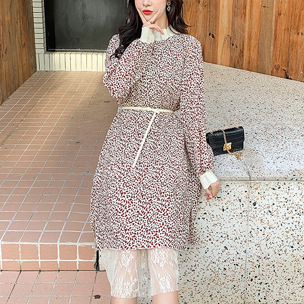 Lace Turtle Neck Floral Midi Length Summer Dress - Red