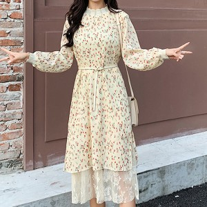 Lace Turtle Neck Floral Midi Length Summer Dress - Apricot