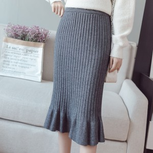 Ribbed Flared Hem Formal Wear Skirt - Grey