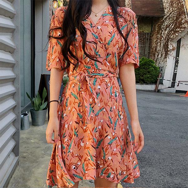 Floral Wrapped V Neck Waist Belt Mini Dress