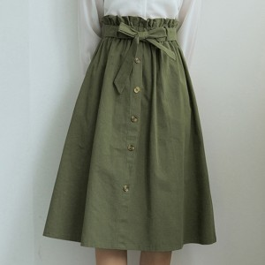 Button Decorative Waist Belt Skirt - Green