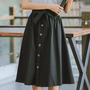 Button Decorative Waist Belt Skirt - Black