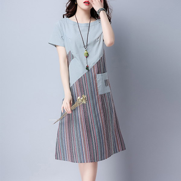Contrast Striped Front Pocket Casual Midi Dress - Grey