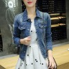 Button Closure Long Sleeve Denim Female Jackets - Blue