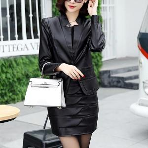 Long Sleeve Pu Leather Two-piece Jackets Skirts - Black
