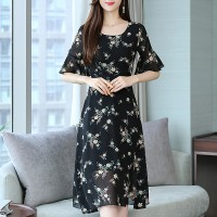 Flared Sleeves Printed Floral Midi Dress - Black