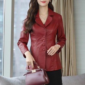Long Sleeve Collar Pu Leather Button Closure Jackets - Red