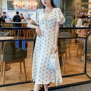 Polka Dots String Bust Chiffon Summer Dress
