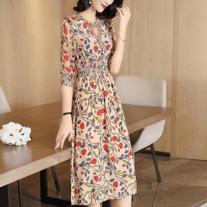 Floral Elastic Waist Thin Fabric Summer Dress