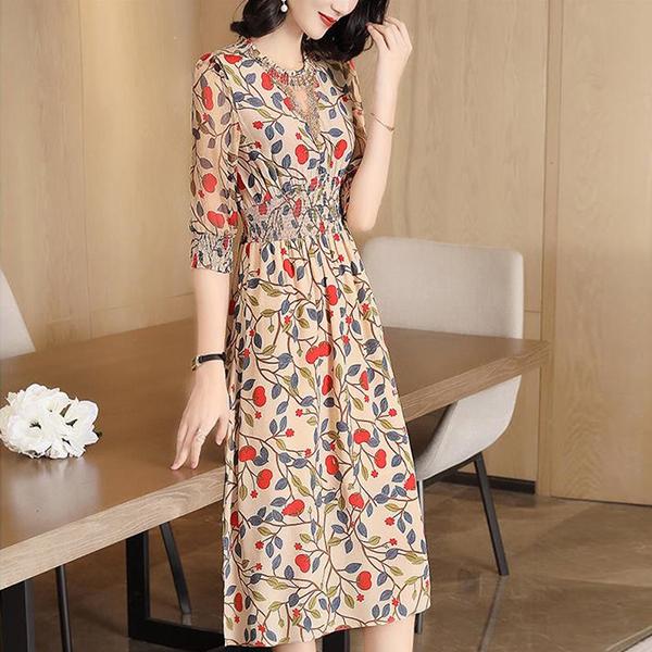 Floral Elastic Waist Thin Fabric Summer Dress