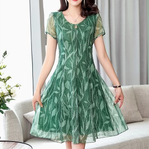 Round Neck Digital Prints Chiffon Mini Dress - Green