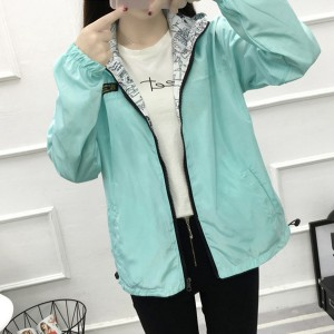 Hoodie Zipper Casual Sports Cardigan Jacket - Blue