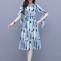 Irregular Bat Sleeved Geometric Prints Midi Dress