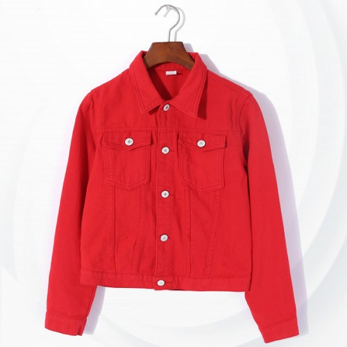 Button Up Denim Shirt Collar Mini Jacket - Red