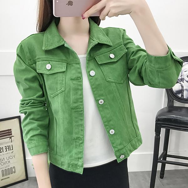 Button Up Denim Shirt Collar Mini Jacket - Green