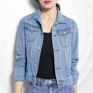 Button Up Denim Shirt Collar Mini Jacket - Blue