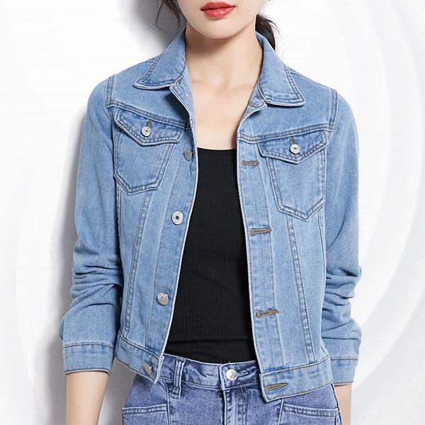 Button Up Denim Shirt Collar Mini Jacket - Blue