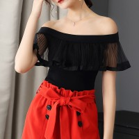Flared Off Shoulder Retro Summer Blouse Top - Black