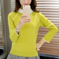 Solid Pattern Doll Collar Neckline Top - Yellow