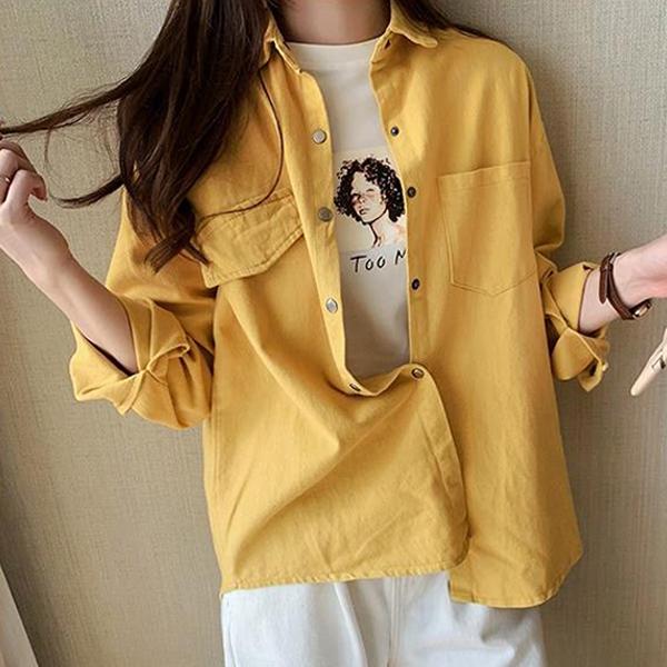 Solid Shirt Collar Button Up Plain Summer Shirts - Yellow
