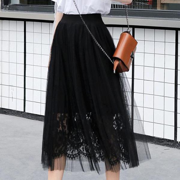 Stretchable Waist Floral Transparent Skirt - Black