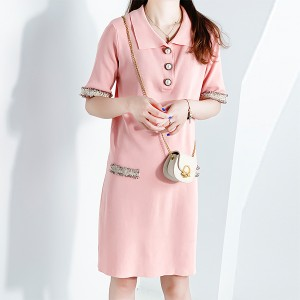 Pearl Buttons Decorated Polo Collar Mini Dress - Pink