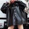 Loose Long Sleeve Leather Female Women Jackets - Black