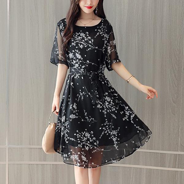 Chiffon Floral Prints Summer Wear Mini Dress - Black