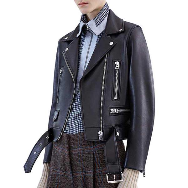 Faux Leather Zipper Slim Soft Female Jackets - Black