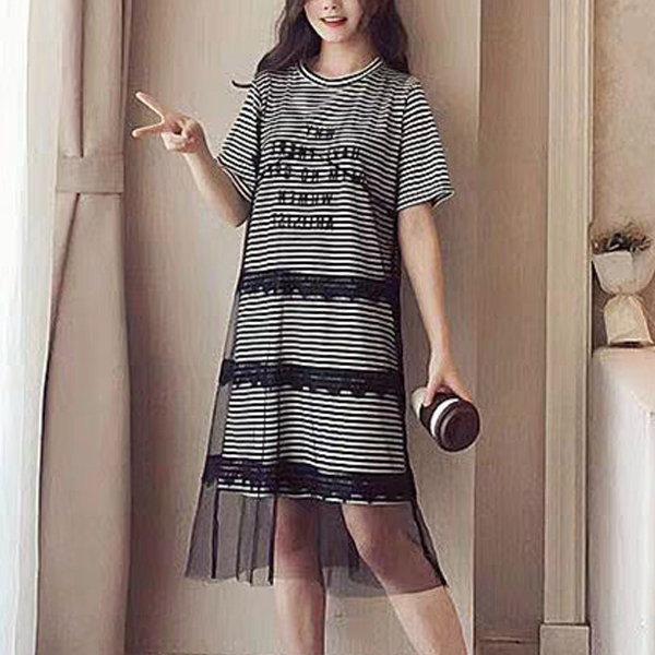 Striped Lace Patch Fake Two Pieces Mini Dress - Black