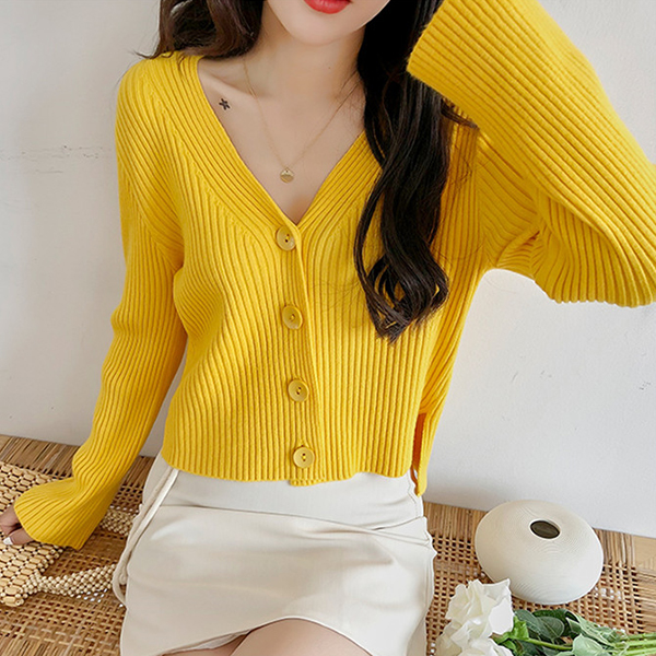 Casual Wearing Long Sleeves Button Closer Sweaters - Yellow