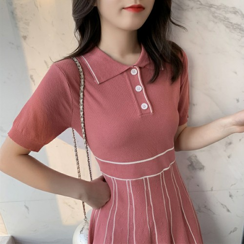 Polo Collar Short Sleeves Mini Dress - Rose Pink