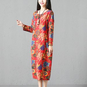 Floral Round Neck Printed Fancy Straight Dress - Red