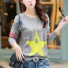 Five-Pointed Star Pullover Knitting Womens Shirt - Gray
