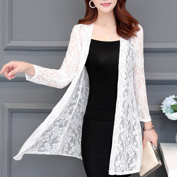 Transparent Lace Textured Full Length Cardigan - White