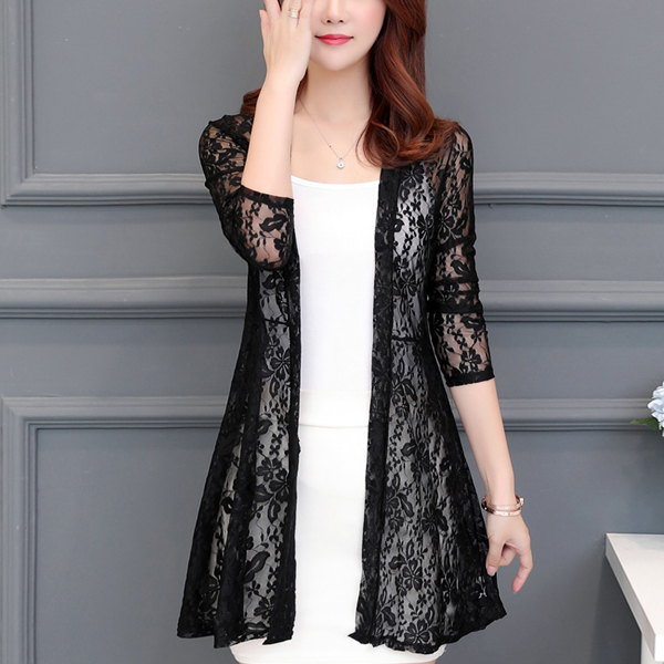 Transparent Lace Textured Full Length Cardigan - Black