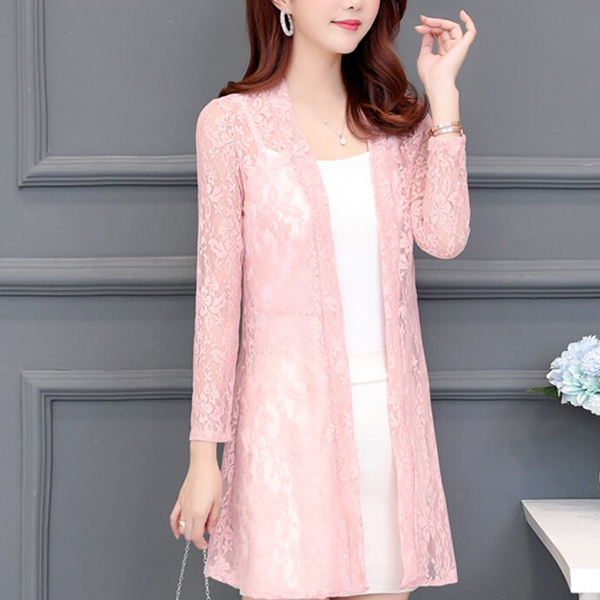 Transparent Lace Textured Full Length Cardigan - Pink