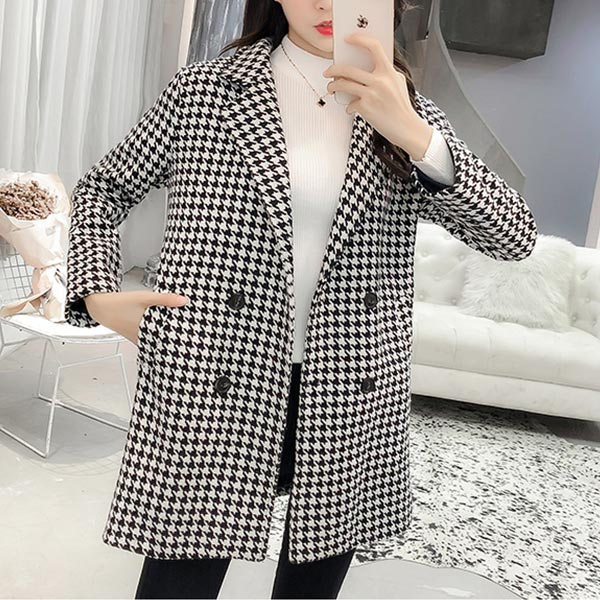Houndstooth Pattern Long Sleeves Suit Neckline Coat - Black