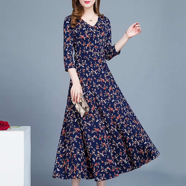 Printed V Neck Midi Party Dress - Blue